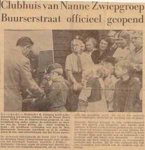 Het krantenartikel over de opening van Clubhuis De Vlam op 31 mei 1969