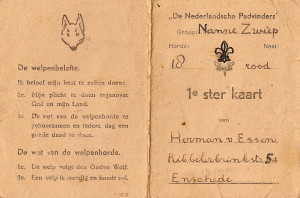 Een oude 1e ster kaart van onze groep van Herman van Essen, voor het eerst afgetekend op 27 oktober 1945.