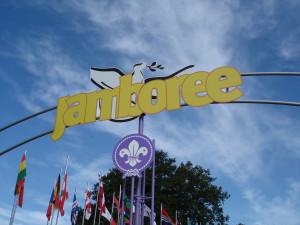 Detail van de toegangspoort van de Wereld Jamboree 2007 in Hylands Park bij Londen.