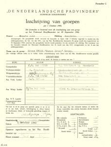 Het inschrijfformulier uit 1945
