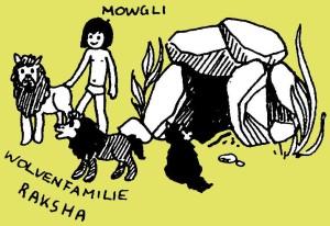 Mowgli met Raksha en haar wolvenfamilie bij het wolvenhol