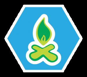 Een voorbeeld van een insigne van de welpen: kampvuur