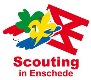 Het logo van Scouting in Enschede - het Scoutinglogo met het wapen van Enschede