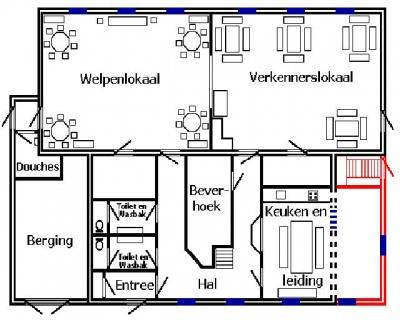 De plattegrond van de uitbreiding van het clubgebouw