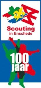 Logo 100 jaar Scouting met Scouting Enschede logo